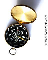 Compass - closeup of the compass on white background