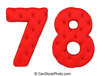 Luxury red leather font 7 8 numerals