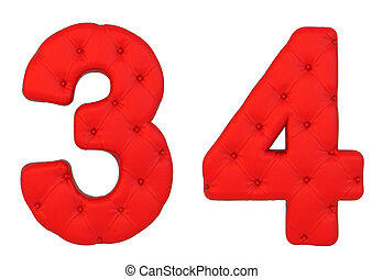 Luxury red leather font 3 4 numerals isolated on white