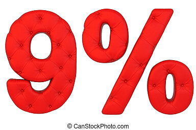 Luxury red leather font 9 numeral and percent