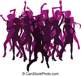Beautiful women dancing silhouettes - Group of sexy...