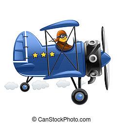bleu, avion, pilote