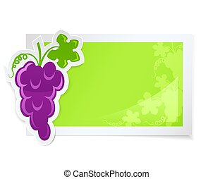 sticker with grapes cluster vector illustration isolated on...