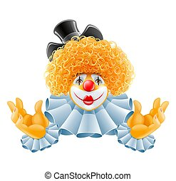 red-haired smiling clown vector illustration isolated on...