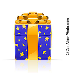 gift box with golden bow - gigift box with golden bow vector...