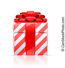 gift box with red bow vector illustration isolated on white...