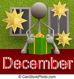 Stickman December - 3d figure with a present.