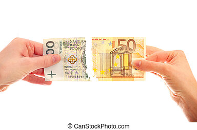 Tearing banknotes - A picture of hands tearing Polish zloty...