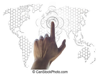 hand and world map digital searching concept