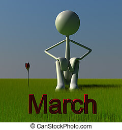 Stickman March - 3d figure sitting on a meadow. this picture...