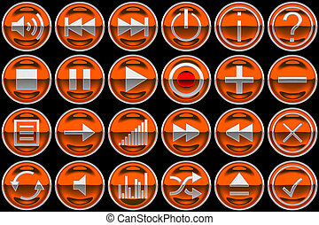 Round orange Control panel buttons