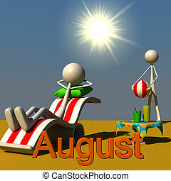 Stickman August - 3d figures relaxing in the sun. this...