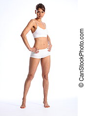 Fit woman in white sports underwear - Healthy young woman...