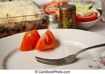 Fasting - Two slices of tomato on the dish