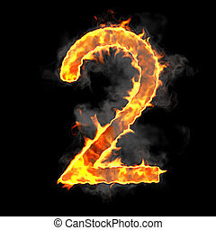 Burning and flame font 2 numeral