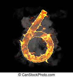 Burning and flame font 6 numeral