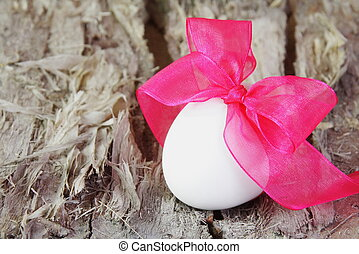 Festive Easter Egg with Purple Bow