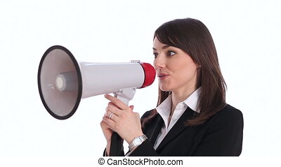Megaphone executive - Attractive, professional woman holds...