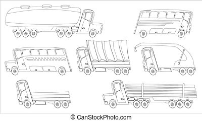 coloring page with trucks and buses in cartoon style