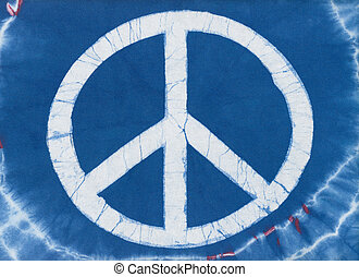 Tye Dye Peace Symbol - Real tye dye Peace Symbol on cotton...