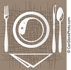 dining - on an abstract background of a stylized outline of...