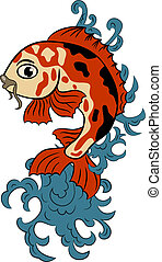 hand-drawn koi (carp fish) - vector hand-drawn koi (carp)...