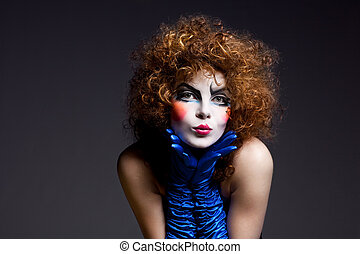 woman mime with theatrical makeup - Woman mime with...