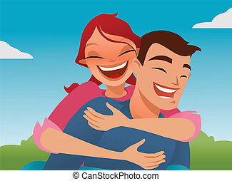 Piggybacking - cute couple enjoying a sunny day and playing...