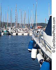 Sailboat marina - Landscape of sailboat marina with yachts...