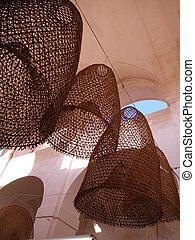 Hanging creels to be sold in Gallipoli, Apulia, Italy
