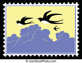 vector silhouette swallow on postage stamps