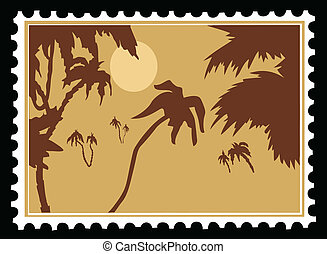 vector tropical landscape on postage stamps