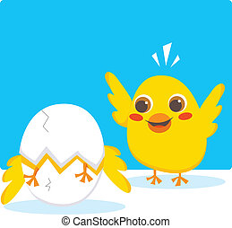 Hatching egg - Chick cheering his brother breaking the egg...