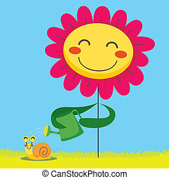 Snail Shower - Happy flower showering a cute snail with a...