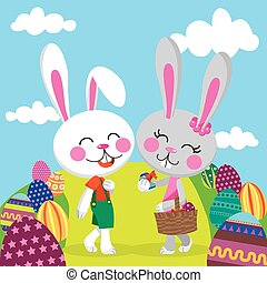 Easter Bunny Couple - Bunny couple celebrating Easter...