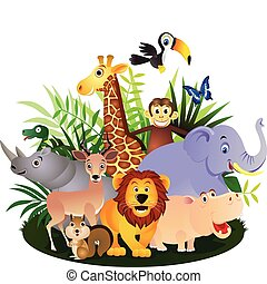 Animal cartoon - adorable africa animals background banner...