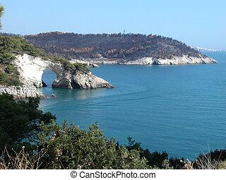 Gargano coastline in Apulia, Italy - The Gargano coastline...