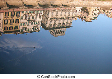 Houses on Arno river, Florence - Ancient houses reflecting...