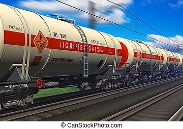 gasolina, petrolero, ferrocarril, coche