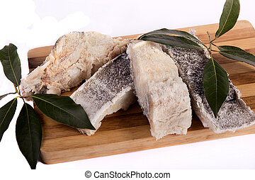 slices of salted cod - View of a bunch of sliced salted...