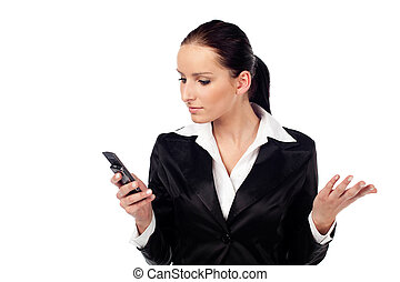 Angry women look at cellphone. Isolated - Portrait of angry...