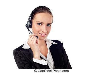 Female customer service representative smiling Isolated on...