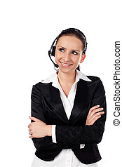 Woman talking by phone as customer service - Female customer...