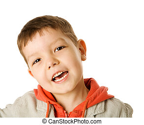 Four years boy - Happy Four years boy portrait isolated on...