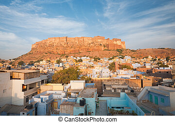 Mehrangarh Fort Jodhpur Blue - The color of the residential...