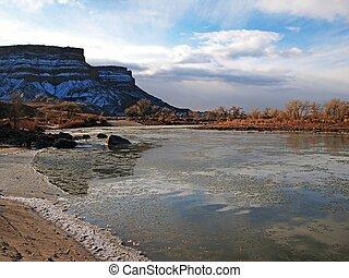 Desert River in Winter