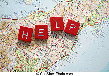 Help Japan - hit by Tsunami - Help Japan in red letters on...