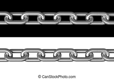Chains - 3d render of metal chains over black and white...