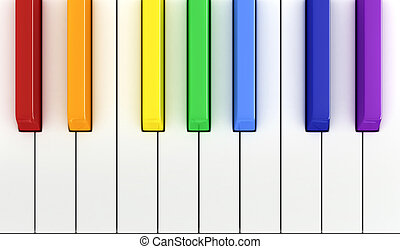 Piano - 3d render of piano keys
