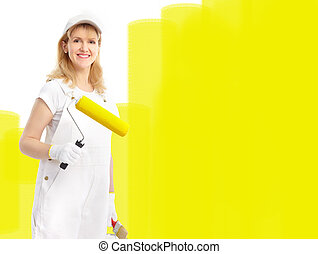 Painter woman - Smiling painter woman in white suit....